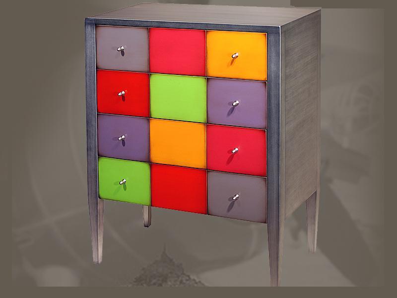 Commode kolors 4 tiroirs personnalisable raphaele - Commode tiroirs multicolores ...