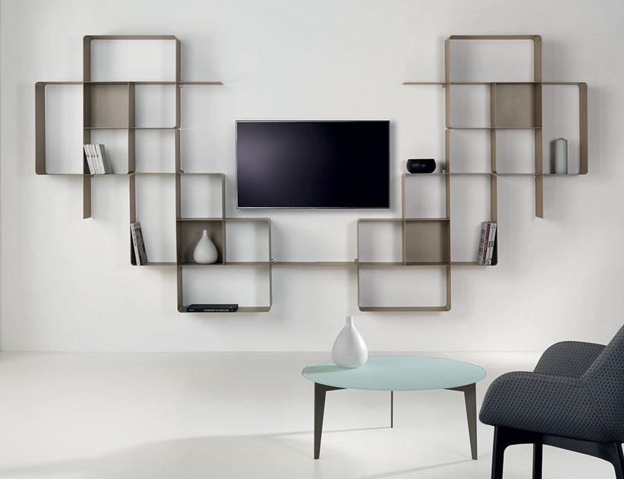 biblioth que modulaire murale mondrian de pezzani 9 raphaele. Black Bedroom Furniture Sets. Home Design Ideas
