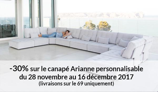 -30% sur le canapé Arianne personnalisable du 28 novembre au 16 décembre 2017