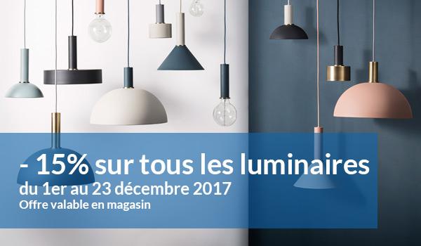 -15% sur tous les luminaires du 1er au 23 décembre 2017
