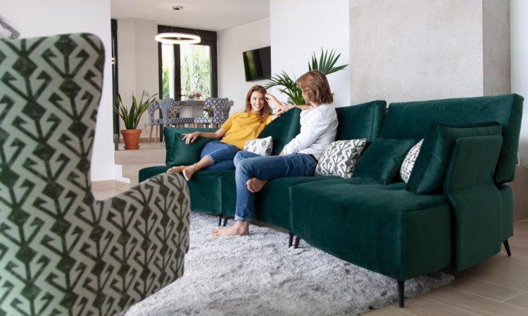 canapé confortable vert