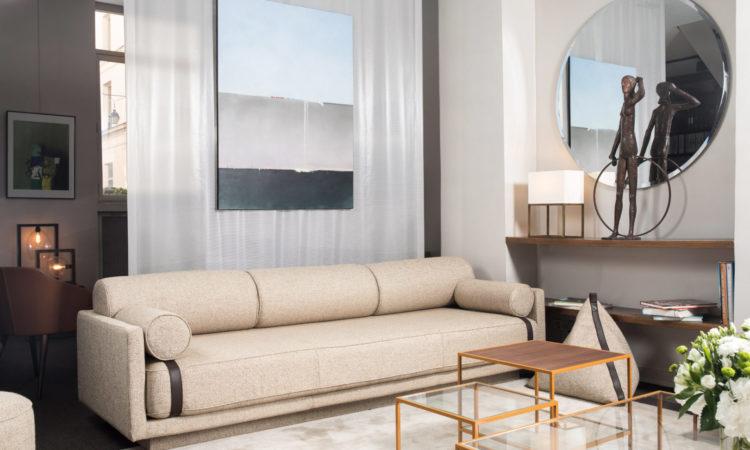 Canapé haute qualité cuir tissu